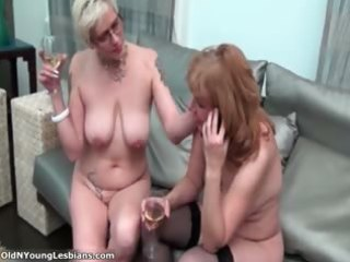 Two horny mature lesbians are drinking part2