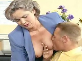 crazy old mommy receives cock screwed and office
