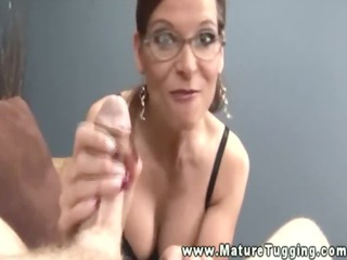 large titted aged facial after handjob