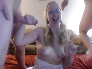 pigtail wife blowjob on spouse and ally