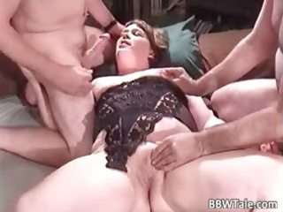 obese milf enjoys in great group part2