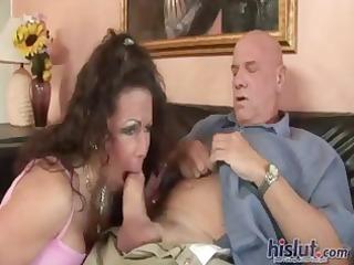 brunette hair anjelica takes on an older guys