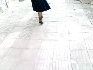 mature honey walking in dark heels