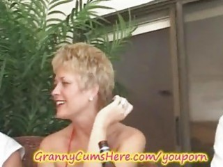 granny has a xxx swingers party and arse licking