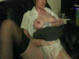plump granny is home alone and gives herself some
