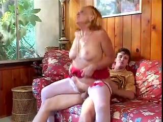 lewd grandmother sucks, copulates her grandson