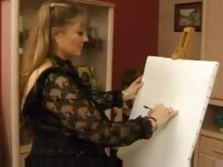 plump older golden-haired is so thankful her art