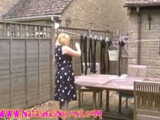 floozy milf wife in hose teasing the neighbours