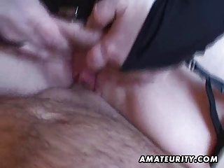 breasty amateur wife tugjob and oral-service with