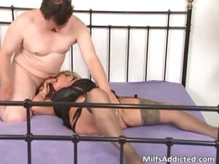 lustful golden-haired mum blows cock and daughter