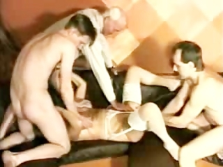 granny takes 2 guys and is fisted