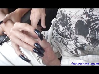 breasty latin chick foxy anya gives tugjob in car