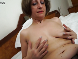 sexy non-professional mother of 3 playing with
