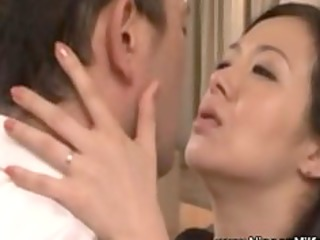 aged asian mother i giving a kiss with voyeur