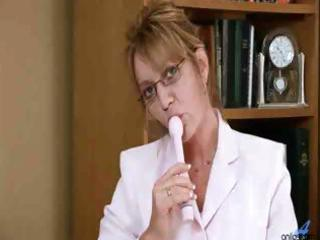 mature lady receives bored at the office