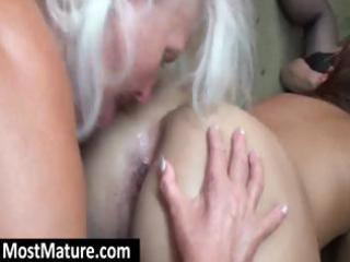 horny grannies have a hawt lesbo trio with a