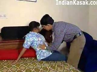 indian aged aunty fucking with cute guy in bedroom