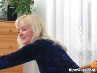 lewd aged golden-haired sucks on hard pounder