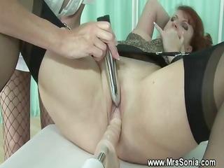 submissive lesbo uses fucking machine