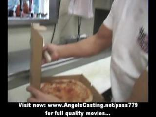 hot golden-haired milf does oral sex for pizza