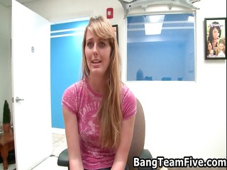 golden-haired american gal receives drilled for