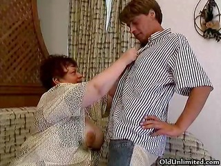 old overweight woman sucking hard in a chaps part5